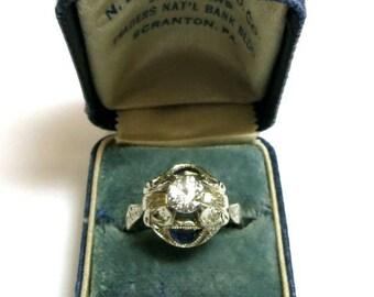 antique diamond engagement ring 18k white gold / art nouveau diamond engagement ring /victorian era diamond engagement ring