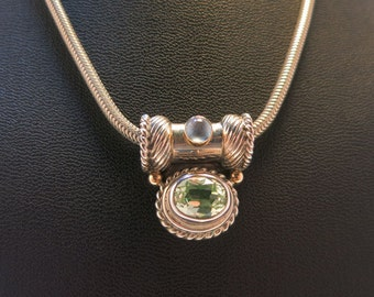 reve peridot ,moonstone sterling 14k choker necklace