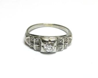 antique diamond engagement ring / art deco diamond engagement ring / diamond white gold engagement ring / size 7