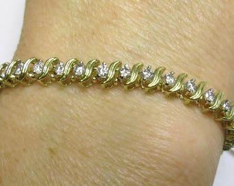 diamond tennis bracelet two carats plus yellow gold 14k