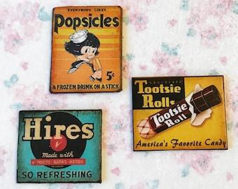 Dollhouse miniature POPSICLE advertisement sign 1:12 Vintage orange antique