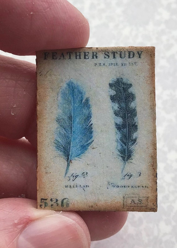 """Miniature Dollhouse Blue Feathers Study picture colbalt 1:12 antique /""""tin/"""" sign"""