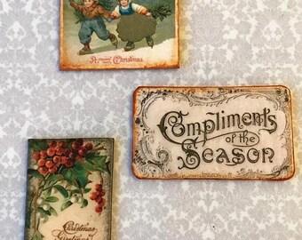 "30% OFF Sale Miniature Dollhouse Christmas signs 1:12 WALL art ""tin"" Dutch Children HOLLY holiday season"