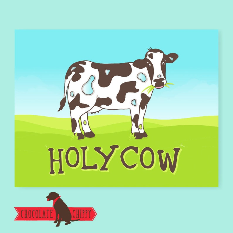 Holy Cow Card  Greeting Card  Funny Card  Funny Cards  image 0