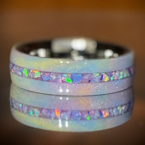 Crushed Opal Inlay Colorful rings DiamondCast Ring with Opal inlay DiamondCast Vibrant Ring Diamond dust ring Resin Ring Crushed Opal