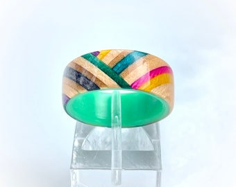 Reclaimed Herringbone Skateboard Ring with Glowing Liner, skater ring, wooden ring, recycled skateboard ring, upcycled skateboard ring