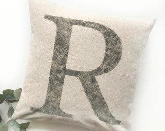 Initial Pillow | Mongram Pillow | Rustic Letter Pillow Cover | Farmhouse Pillow | Multiple Sizes Available | Pillow Cover | Made To Order