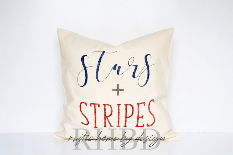 Stars and Stripes  Patriotic Farmhouse Pillow Cover  Rustic image 0