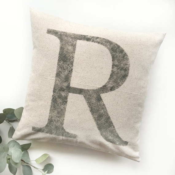 grain sack pillows monogram