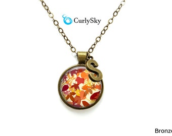 Fall Leaves Necklace Orange Leaves Jewelry - Fall leaf necklace orange leaf pendant Yellow leaf necklace Brown Yellow leaves fall colors
