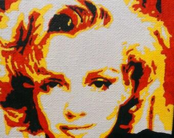 Marilyn Monroe hand painted pop art canvas