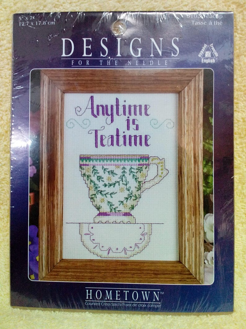Vintage Choice -Counted Cross Stitch 5 x7 iches Kit-Tea Cup -5103 or Memories-5106 By Designs for the Needle