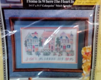 Kit-Colorpoint Paint Stitching, Home is where the heart is, # 63942, 14.5 x 9.5 inches, can be stitched, Bucilla