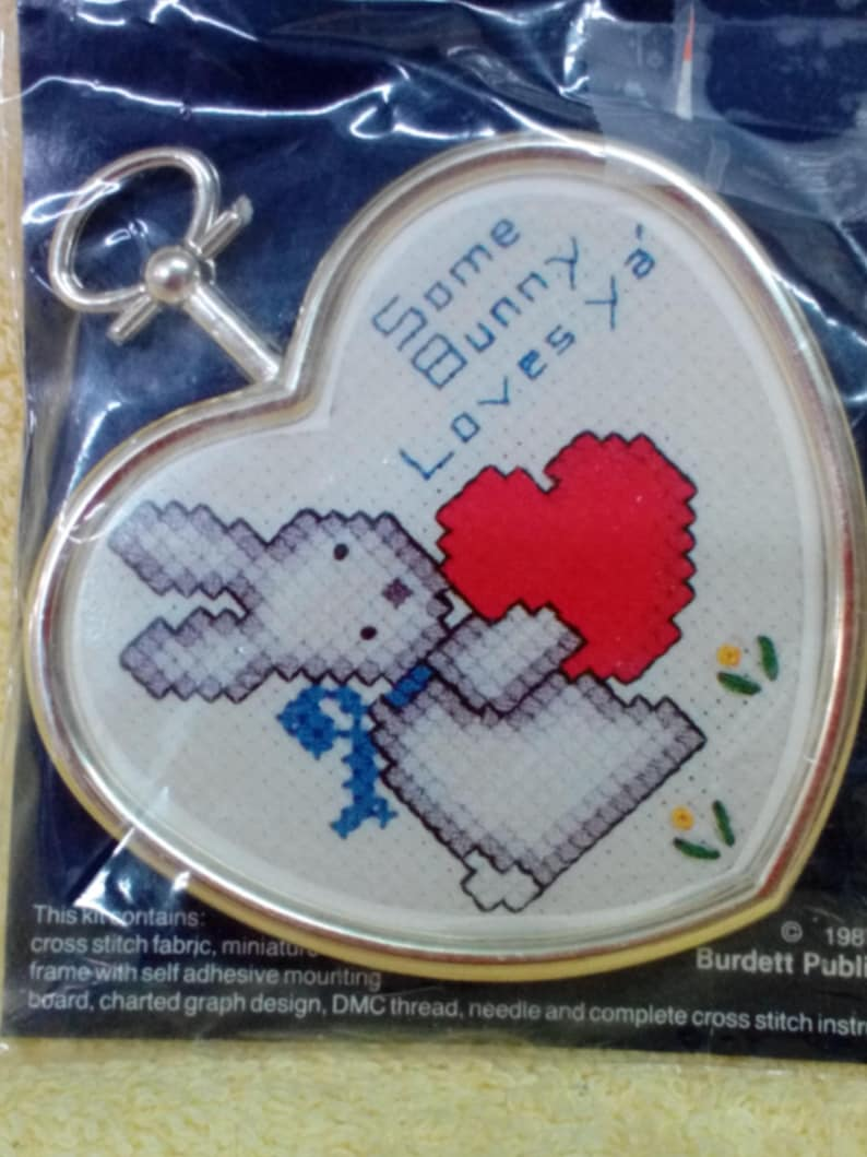 Vintage 3 14 in W with Gold Frame,Thread and Instructions Some Bunny Loves Ya Kit-Cross Stitch Kit # CM 821 by Dale Burdett 4 in L