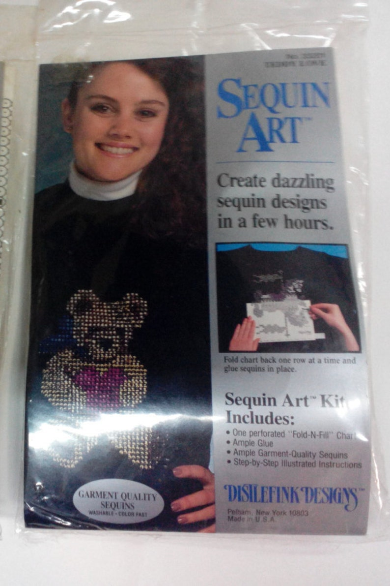 Wall Hangings and other Fabric by Distlefink Designs Sequin Art for Fabric Tote bags Kit-Teddy Love 33201 Vintage For Clothing