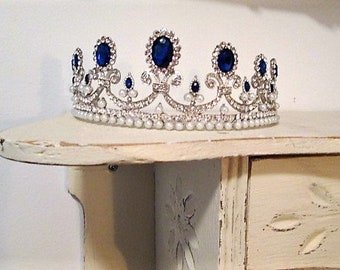 Bridal tiara silver blue sapphire rhinestones diamante wedding tiara pearl tiara. MARIE-ANTOINETTE.