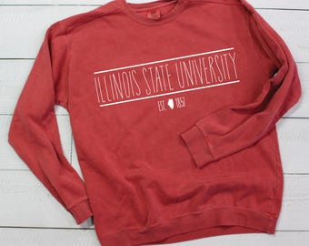 ca7280623 College University Group Custom Sweatshirt with State Outline - Comfort  Colors - SHIPPING INCLUDED