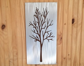 Modern Tree Artwork. Metal Wall Art. Colorado home. Kitchen Decor. Winter trees. Touch of modern. Colorado decor. Silver. Aluminum.