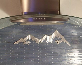 Colorado mountains metal wall art. 2ft in silver aluminum