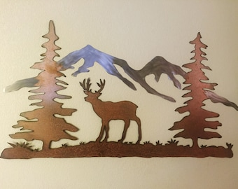 Deer and mountains metal wall art, Metal mall art, Hand made wall art, Mountains, Deer