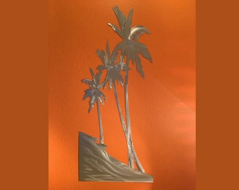 Front Porch Entry Decor Palm Trees Leaf Metal Wall Art Outdoor Door Artwork Palms Bathroom Bedroom Beach House Ocean Cottage Vacation Gift