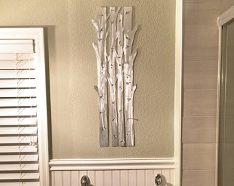 Aspen Trees Metal Wall Art, Aspen Tree Home Decor, Hand cut Aluminum artwork for your kitchen and bathroom. Hand made artwork. Gift for her