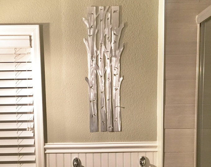 Metal Wall Art Aspen Tree Home Decor Hand Cut Handmade Aluminum Artwork Kitchen Bathroom Bedroom Nursery Living Room Hall Door Hanging Gift
