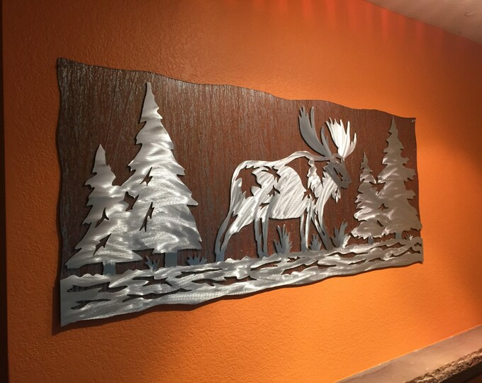 Rustic fall decor - Moose Artwork -  Rustic cabin decor - Gift for hiker - Pine Trees - Colorado Art - Animal wall art - Alaskan Art