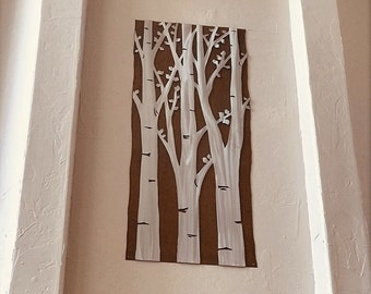 Extra Large Wall Art. Aspen Trees with leafs. Nature Inspired. New Home Gifts for Couples. Wanderlust. Home Decor. Apartment Decorating.