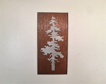 Pine Tree Artwork. Metal Wall Art. Colorado artist. Rustic wall hangings. Touch of modern. Framed pine tree. Gift for her. Anniversary