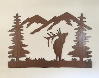 Rustic Elk Mountain metal wall art, Colorado Metal wall art, Forest Elk with mountains, Steel, hand made artwork for kitchen, Cabin art
