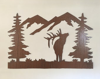 Bugling Elk Metal Wall Art Rustic Animal Artwork Mountains Trees Forest Outdoors Handmade Steel Hunting Gift Idea Cabin Lodge Den Man Cave