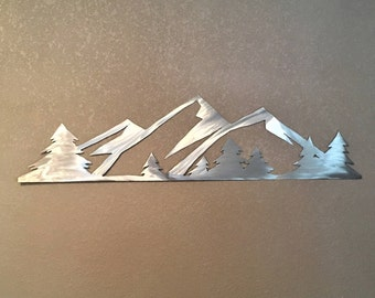 Rocky Mountain National Park Handmade Metal Wall Art Colorado Mountain Range Estes Evergreen Trees Living Room Cabin Nature Artwork 3 Ft.