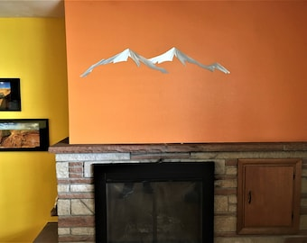 Greys and Torreys, Mountain range, Ski wall decor, Mountain wall art, Skiing gift, Fireplace decor, Above bed wall art, Ski decor