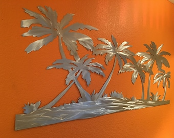 Palm Trees On Beach Metal Wall Artwork Hand Cut Unique Large Aluminum Art Ocean Sea Sand Coastal Vacation Condo Den Cabin Patio Home Decor