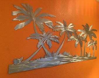 Palm trees on the beach metal wall art. tropical artwork. Hand cut one of a kind aluminum artwork. California, Florida, Hawaiian decoration