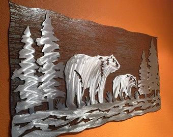 Bear wall art, Mom and baby, Metal wall art, Log cabin, Cottage decor, Forest, Nature lover gift. Handmade in Fort Collins Colorado, Hiking