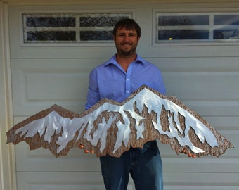Colorado Mountain Range, Double layer artwork with brown steel and silver aluminum