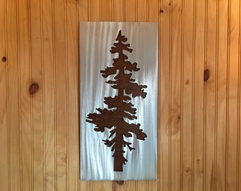 Modern Pine Tree Artwork. Metal Wall Art. Colorado artist. Rustic wall hangings. Touch of modern. Framed pine tree. Gift for her