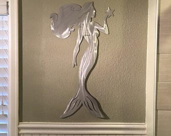 Mermaid Marine Human Fish Metal Wall Art Ocean Folklore Mythical Creature Beach Sea Sand Island Fun Silver Artwork Scuba Snorkel Underwater