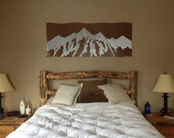 Adventure awaits, Ski lodge decor,Above bed wall art,Metallic wall decor, Ski decor,Snowboarding art,Mountain ranges,Skiing decor,Wall decor