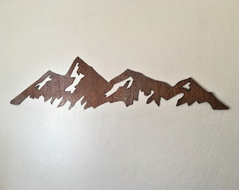 3 ft Boulder mountain range, Flatirons, Brown Patina Steel