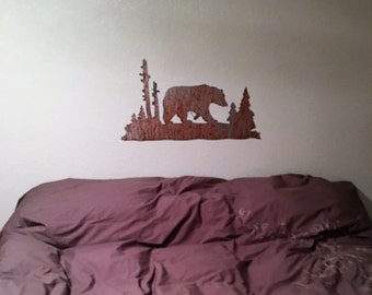 Rustic Patio Decor / Metal wall Art / Brown Bear artwork / Hiking / Camping gift for him /  Wall Hanging /  Man Cave / Wall Sculpture