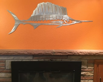 Sailfish. Fishing Art. Nautical Decor. Oceania. Gifts for Him. Mancave. Lake House Decor. Nautical. Mantel Decor. New Home Gift. Metal Decor