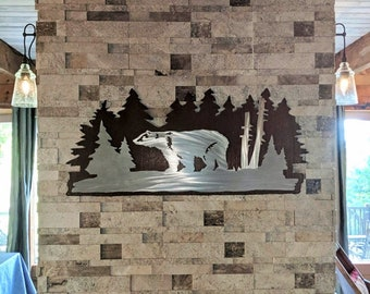 Bear wall art. Metal wall art, Log cabin, Cottage decor, Forest, Nature lover gift. Handmade in Fort Collins Colorado, Hiking