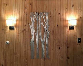 Aspen tree metal wall art. Tree wall decor. Metallic metal sculpture. Tree of live alternative. Colorado nature wall art. Home decoration