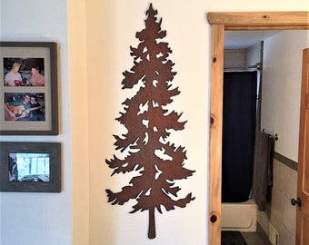 Steel Evergreen Tree Metal Wall Art Copper Rust Brown Color Leaves Trees Forest Modern Artwork Home Decor Rustic Cabin Lodge Condo Bedroom