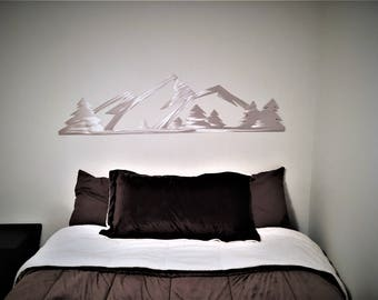 5 ft. Rocky Mountain National Park. Metal Wall Art. Estes Park Colorado. Hand cut mountain range with evergreen trees. Living room / kitchen