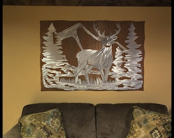 Rustic Home Decor. Deer. Nature Inspired. Metal Wall Hanging. Iron Anniversary. Christmas Gift. Wilderness. Outdoorsman. Metal Decor.