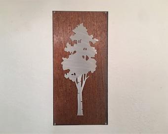 Aspen Tree Artwork. Metal Wall Art. Colorado artist. Rustic wall hangings. Touch of modern. Framed aspen tree. Gift for her. Anniversary